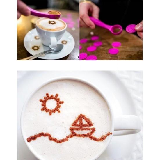 Kávé és palacsinta díszítő kanál - 16 db dekorációs mintával