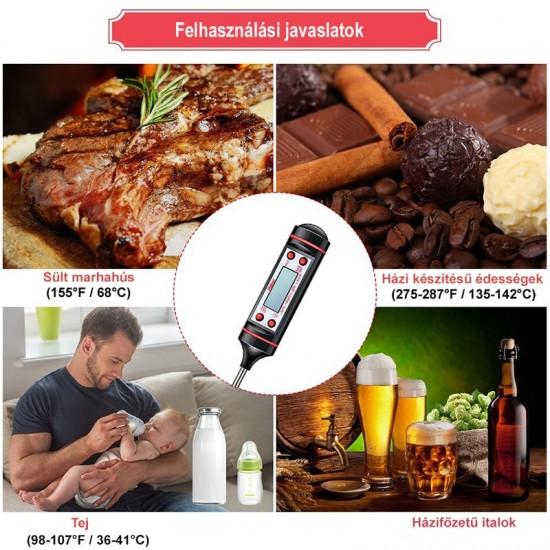 Maghőmérő, ételhőmérő, konyhai hőmérő (digitális)