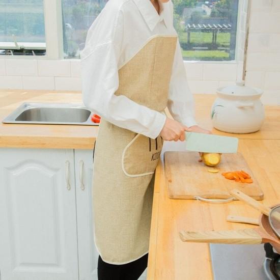 Vízálló konyhai kötény, Tépőzáras és kétoldalú zseb kialakítással bézs