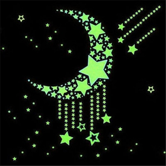 52 db-os, sötétben világító csillag falmatrica
